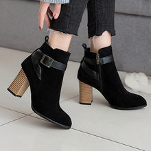Women Autumn Winter Flock Ankle Boots Slip-on Round Toe 8cm Square Heel Solid Casual Black/camel Booties Size 35-39#3(China)