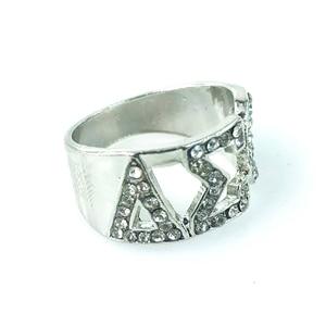 High Quality Silver Zircon GREEK Delta Sigma Theta SORORITY Finger Ring for women men jewelry(China)