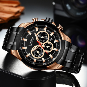 Image 3 - CURREN Classic Black Chronograph Mens Watch Sports Quartz Date Clock Male Watch Stainless Steel Wristwatch Relogio Masculino