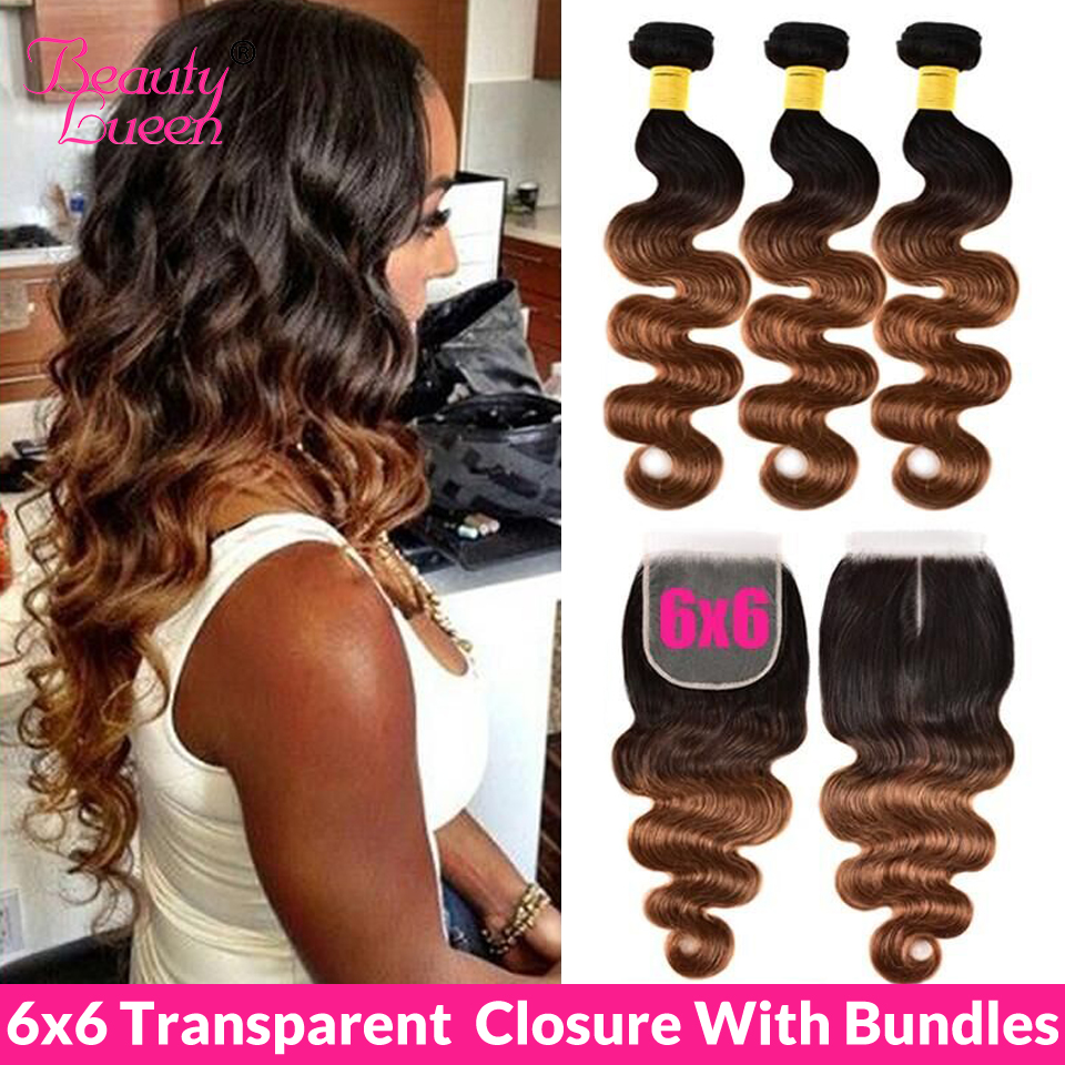 Ombre Peruvian Body Wave Hair 3/4 Bundles With Closure T1B/4/27 30 Remy Transparent  6X6 Closure And Human Hair Bundles
