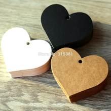 Em Forma de coração Branco Preto Brown Papel Kraft Marcações Jardinagem Etiquetas DIY Nota Ofício Em Branco Tag Do Presente de Casamento 6.5*5cm 100 pçs/lote