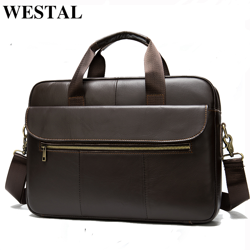 WESTAL Men's Briefcase Bag Men's Genuine Leather Office Bag For Men Porte Document Leather Laptop Bag Men Business Handbag 1117