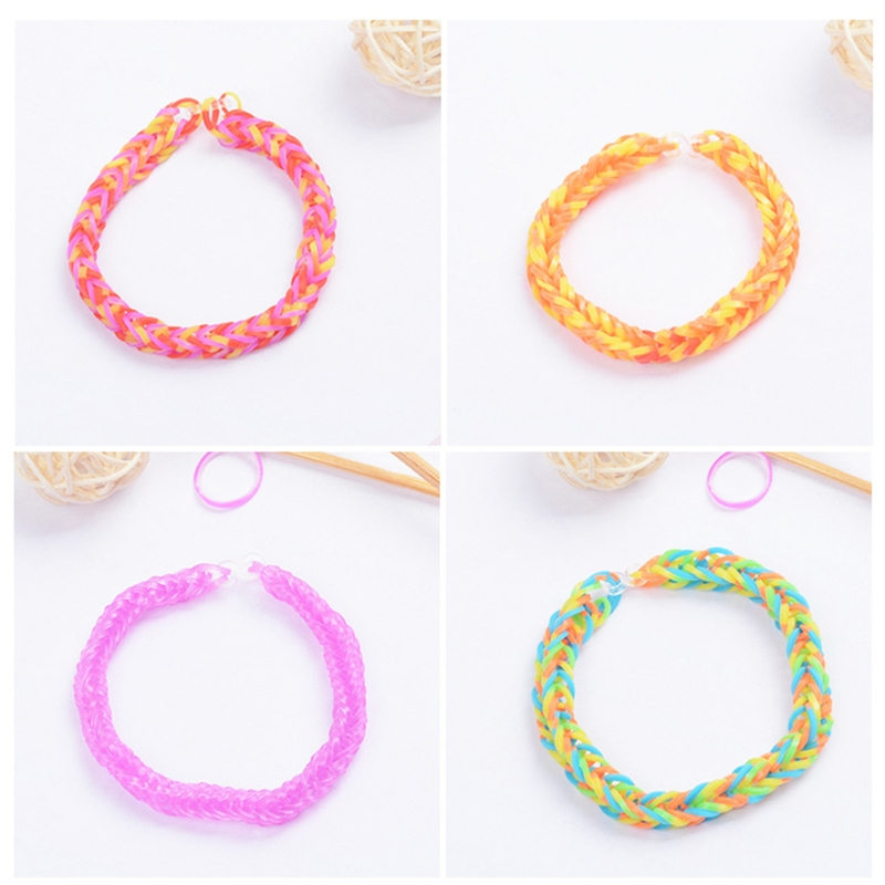 New 1500pcs Rainbow Rubber Bands Set Kid Multi-functional Classic Practical Funny DIY Toys Rainbow Woven Bracelet for Girl Gifts 6