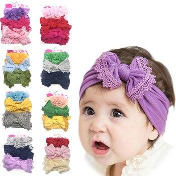 3pcs Bowknot Baby Headband Elastic Turban Hairband Bows Girl Headbands Headwear for Girls Haarband Hair accessories