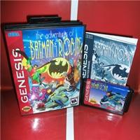 Batmansの冒険ゲーム & ロビン米国カバーボックスとマニュアルセガメガジェネシスビデオゲームコンソール16ビットmdカード