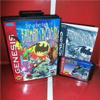 The adventures of Batmans Game & Robin US Cover with Box and Manual For Sega Megadrive Genesis Video Game Console 16 bit MD card
