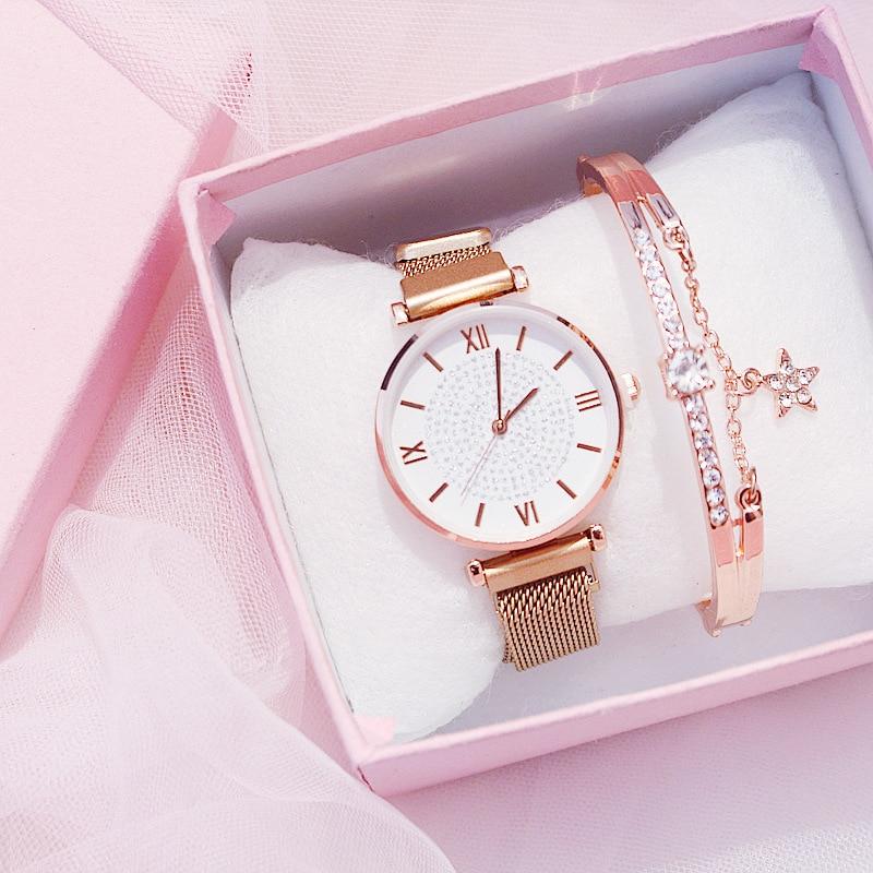 Ladies Watch Bracelet Gift Box Set Womens Luxury Brand Diamond Starry Gold Quartz Wristwatches Crystal Magnetic Steel Mesh Reloj