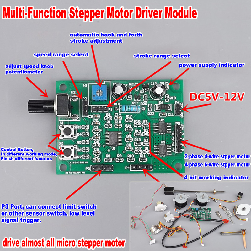 Micro Step Motor Driver  Speed Controller Module Board  DC 5V-12V 6V 2-phase 4-wire  4-phase 5-wire  Stepping Motor