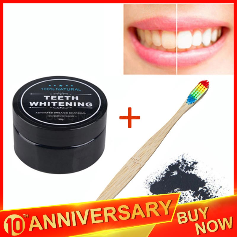 MayCreate Teeth Whitening Activated Charcoal Powder & Bamboo Rainbow Toothbrush Oral Care Set Natural Teeth Clean Oral Hygiene