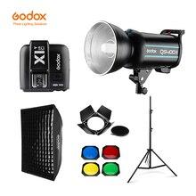 Godox QS400II 400Ws GN65 Professional StudioแฟลชStrobe + 2.8M Light Stand + 60X90 ซม.ตารางSoftbox + Trigger + Barnประตูชุด