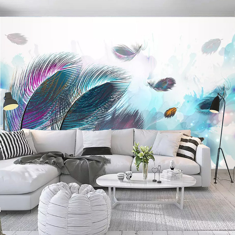 3D Painted Beautiful Color Feather Art Retro American-Style TV Backdrop Wallpaper Living Room Bedroom Hotel Mural