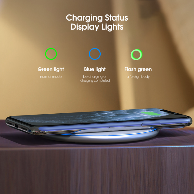 Vothoon 15W Qi Wireless Charger For iPhone 12 Pro 8 XR XS Max 2A Fast Wireless Charging Pad For Samsung S20 S10 S9 Xiaomi Huawei