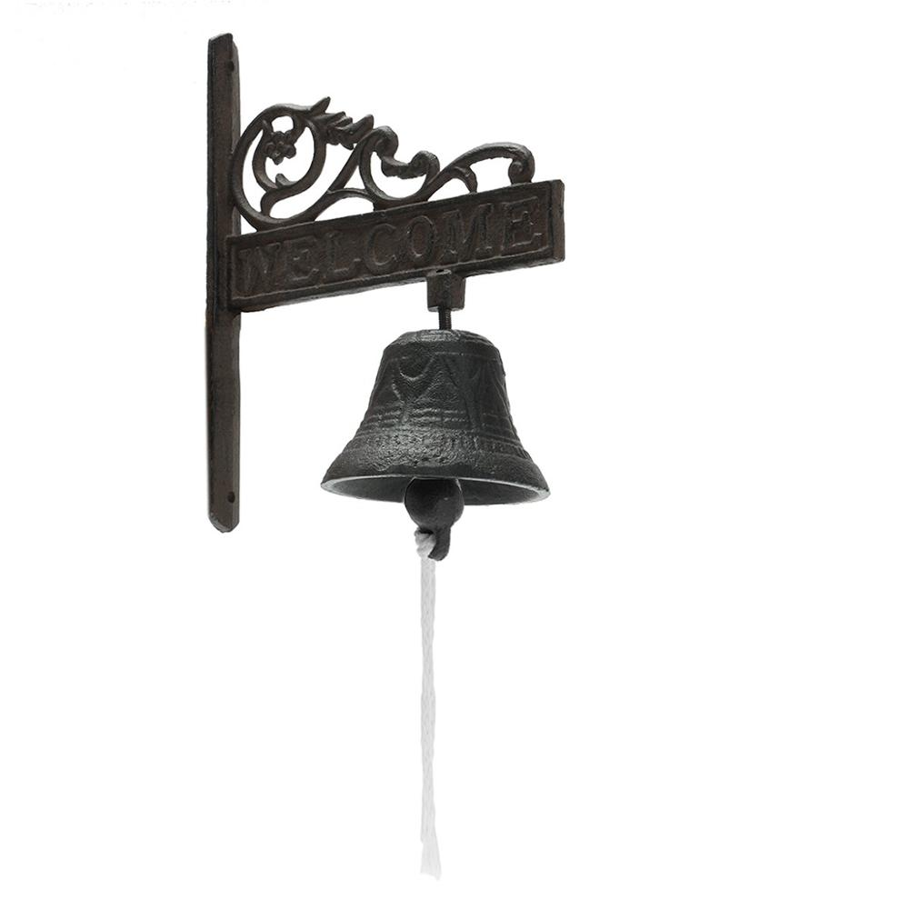 Safurance Vintage Style Brown Metal Cast Iron Door Bell Wall Mounted Garden Decoration Door Intercom