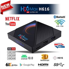 2021 h96 max h616 caixa de tv inteligente android 10.0 4g 64gb 6k caixa de tv android 2.4g 5.8g wifi google player definir caixa superior suporte tv ip