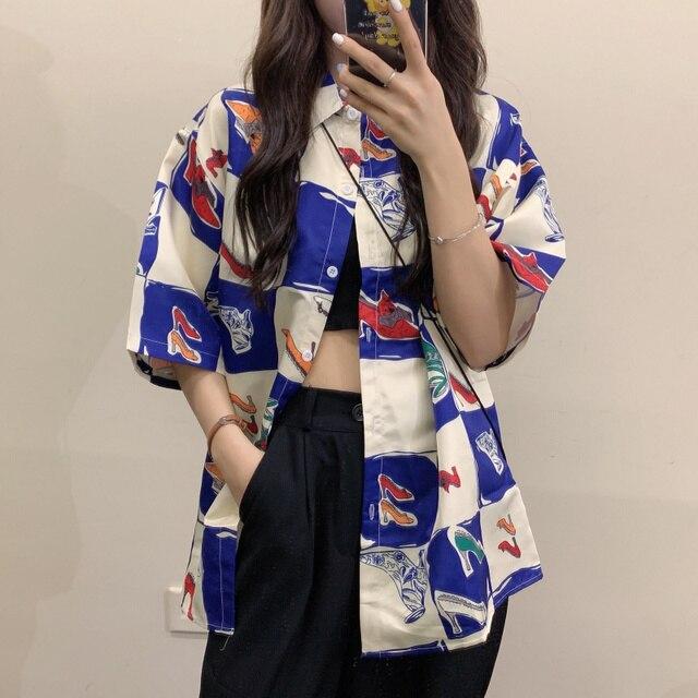 Korean Style Summer Women Blouse Cardigan Button Up Shirt for Ladies Short Sleeve  Ulzzang Harajuku Streetwear Clothes 1