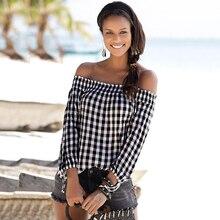 цена на Women Plaid Slash Neck Shirt Black And White Plaid Blouse Autumn Nine Quarter Sleeve Blouses Fashion Lady Tops Blusas femme D30