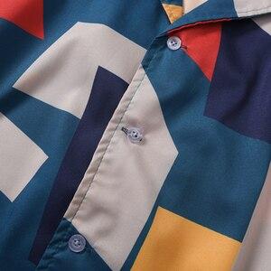 Image 4 - 2020 Hip Hop Shirt Streetwear Mens Hawaiian Shirt Color Block Geometric Harajuku Summer Beach Shirt Hawaii Thin Short Sleeve New