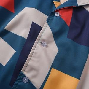 Image 4 - 2020 الهيب هوب قميص الشارع الشهير الرجال قميص هاواي صيفي اللون كتلة هندسية Harajuku الصيف شاطئ قميص هاواي رقيقة قصيرة الأكمام جديد