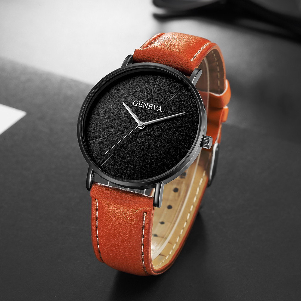 Fashion Men's Leather Casual Analog Quartz Wrist Watch Business Watches Analog Horloges Simple Assista Polshorloge Manner