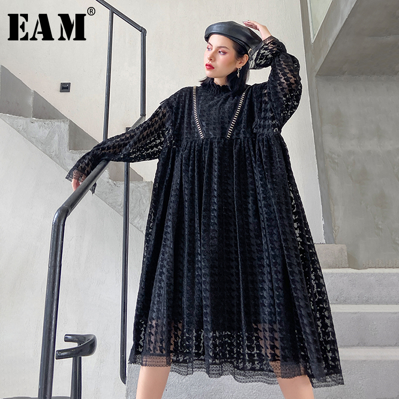 [EAM] Women Black Hollow Out Big Size Lace Dress New Stand Collar Long Sleeve Loose Fit Fashion Tide Spring Autumn 2020 1N731