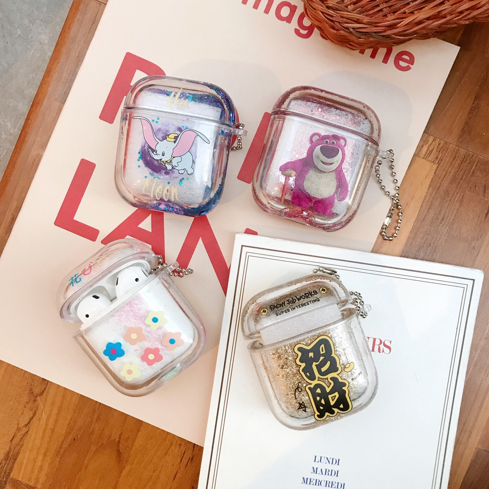 Cartoon Glitter Dynamic Liquid Headphone Case for Airpods 1/2 Transparent Crystal Clear Protection Earphone Cover with Chain|Earphone Accessories| |  - title=