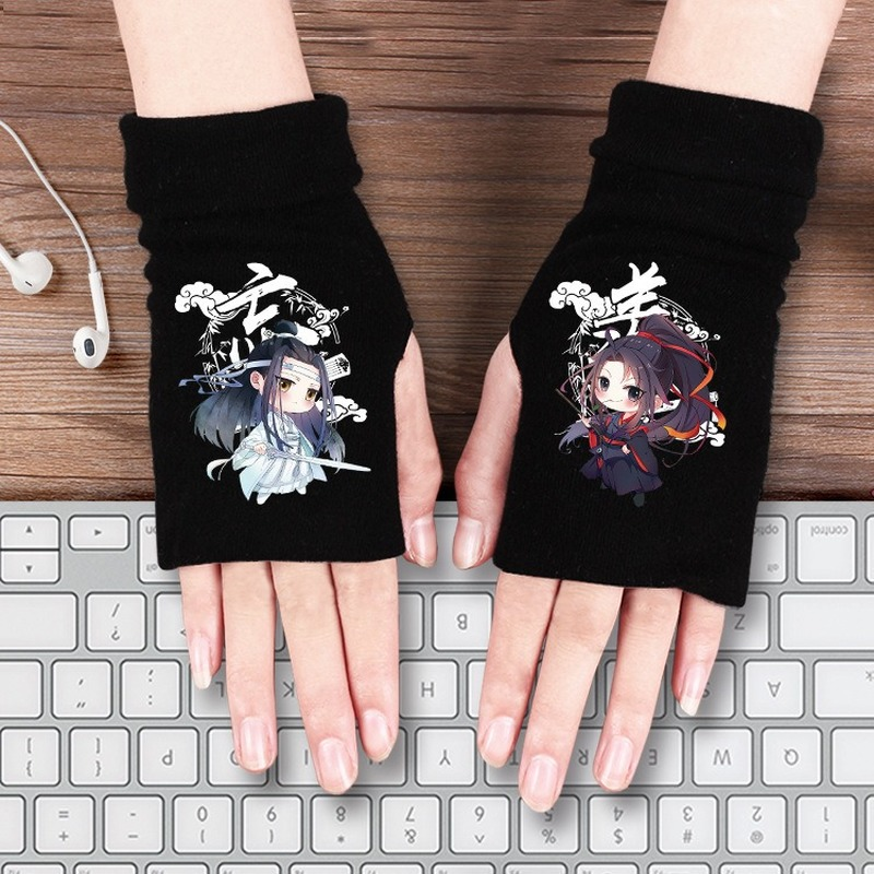 Cartoon Anime Gloves Hatsune Miku Demon Slayer Kimetsu No Yaiba One Piece King Avatar Naruto Mo Dao Zu Shi Cotton Half Gloves