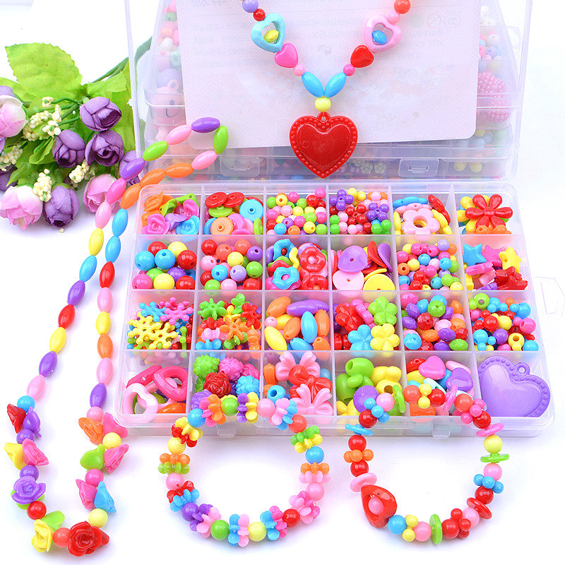 Bracelet Toys Kids Handmade Beaded Toy With Accessory Set DIY Making Bracelets Pop Beads Weaving Bracelet Puzzle Toys For Girls