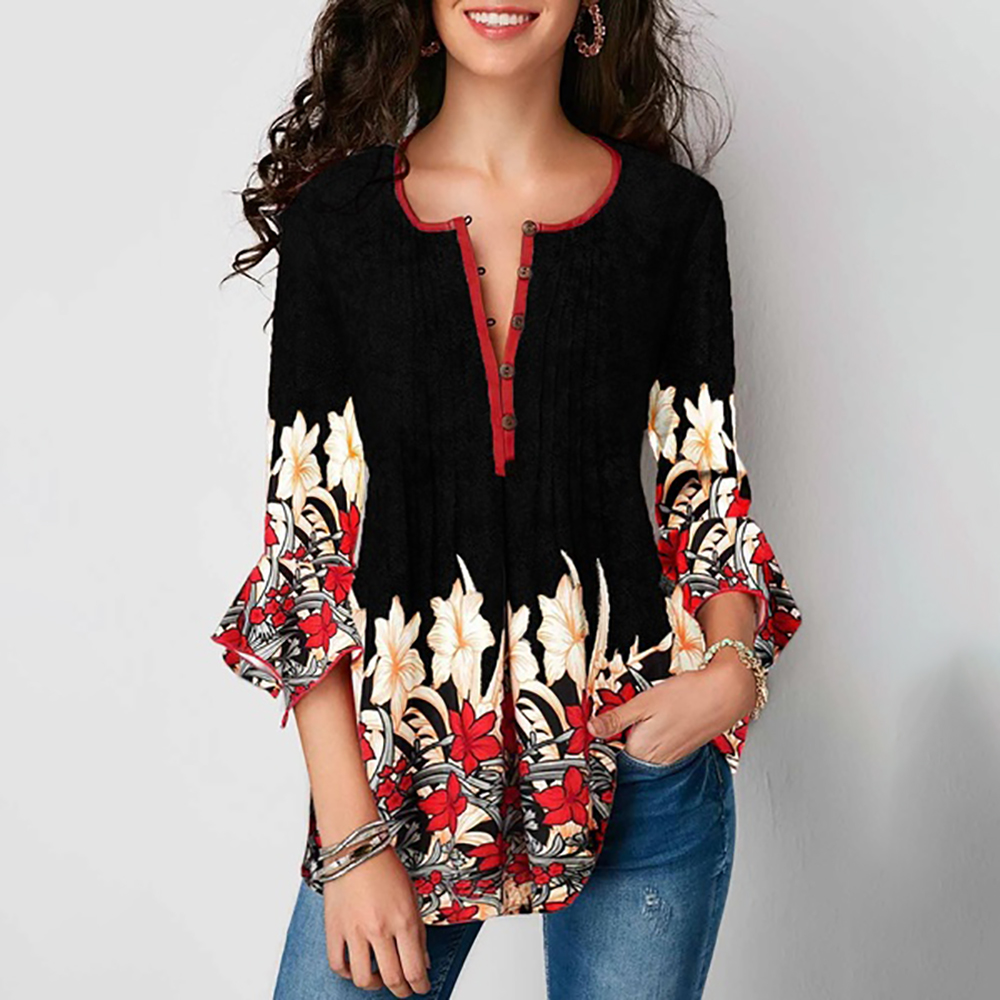 Floral Printed Women Shirt Women Button V-Neck Blouses Shirt Ruffle Sleeve Shirt Print Tops Plus Size 5XL Female Camisa