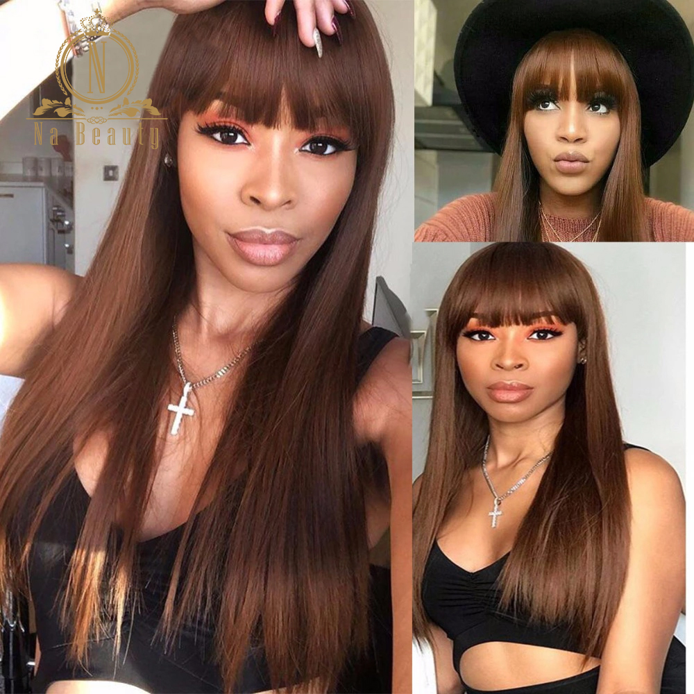 13x6 Lace Front Human Hair WigsBrown Color Red Blue Pre Plucked Straight Wig With Bangs For Black Women Nabeauty 150 Density