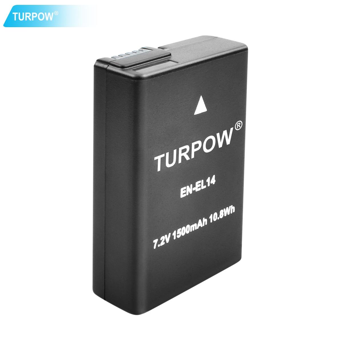 Turpow pour appareil photo Nikon EN-EL14 EN EL14 EN-EL14a ENEL14 EL14a batterie + LCD USB double chargeur P7800, P7700, P7100, P7000, D550