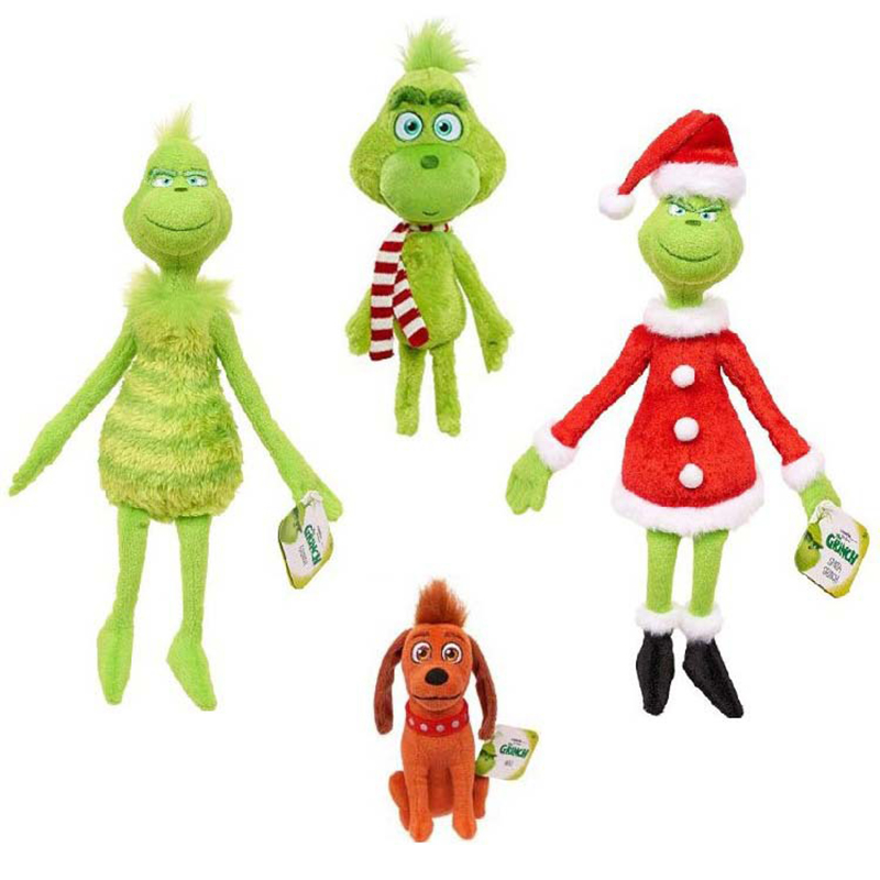 4pcs/Lot Grinch Plush Toys 18-32cm Grinch Toys Christmas Grinch Max Dog Plush Doll Toy Soft Stuffed Toys For Kids Birthday Gifts