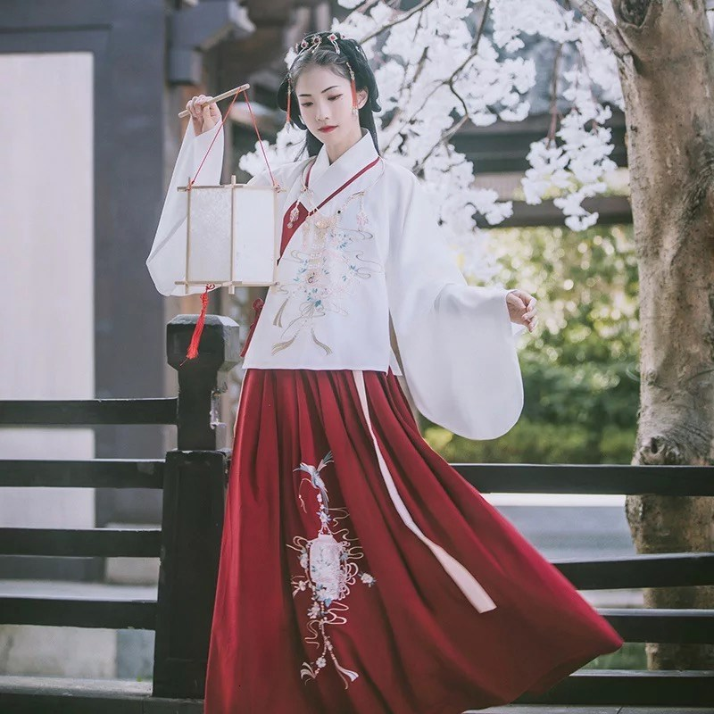 Hanfu Woman Traditional Chinese Clothing Ancient China Costume Fairy Chest Jacket Skirt Princess Fresh Elegant Dress Cotton Silk