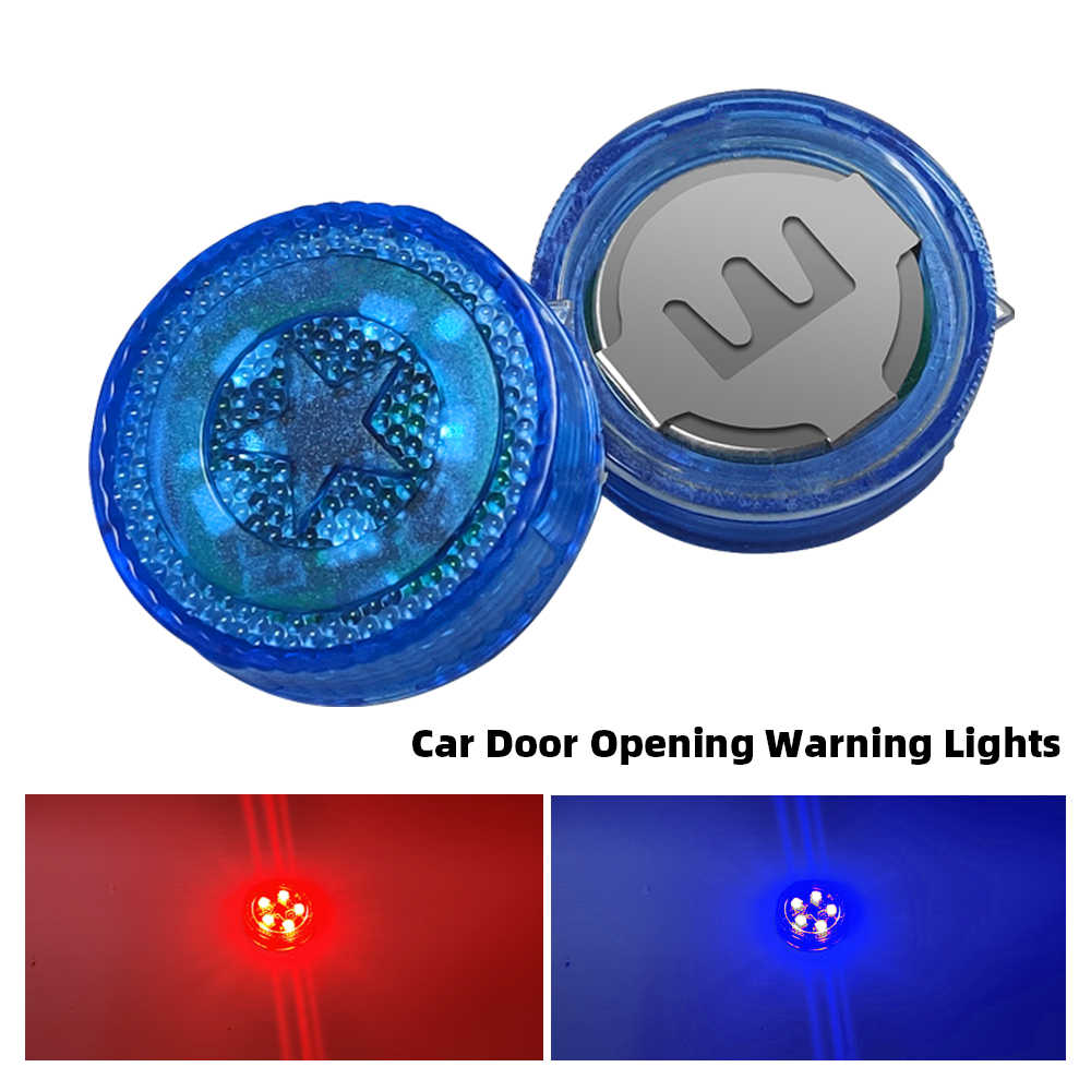Red Blue Car Signal Light 5 LED Car Door Opening Warning Lights Wireless Anti-Collision Flash Indication Light Flashing Lamps
