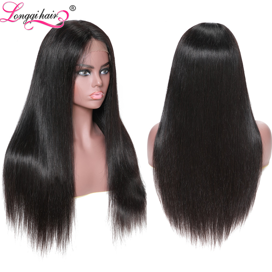 Wigs Human-Hair Pre-Plucked Remy-Glueless Straight Black-Women Full-Lace Brazilian