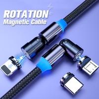 ANMONE Magnetische Kabel Typ C Micro USB Kabel Magnetic Charging 540 Grad Drehen Draht Usb Typ-C 1m 2m 3 in 1 Ladegerät Kabel