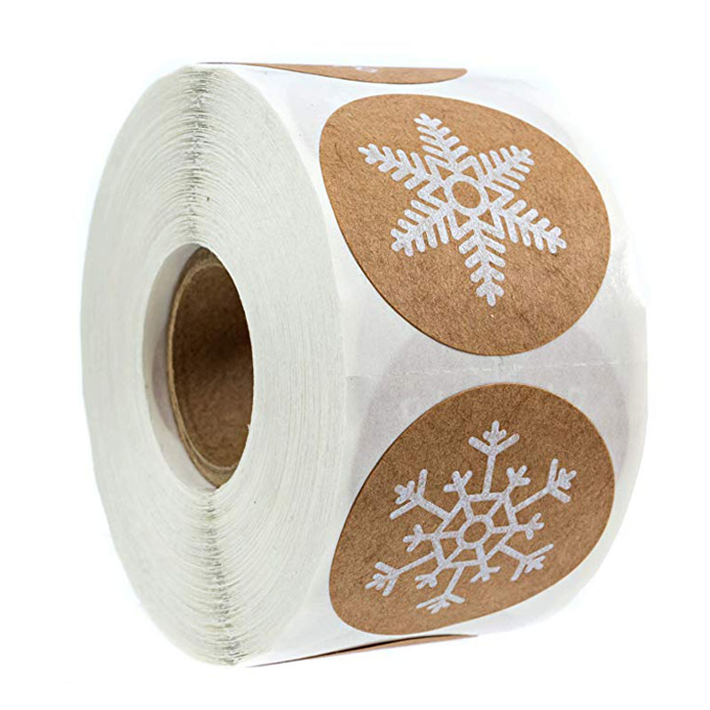 500Pcs/roll Round Christmas Stickers 6 Styles Snowflake Holiday Sticker Halloween Cute Lable For Scrapbooking Stationery Sticker
