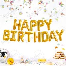 Английский счастливый день рождения неоновые стикеры воздушный шар из фольги набор вечерние декоративные резинки Висячие отверстия шнурки
