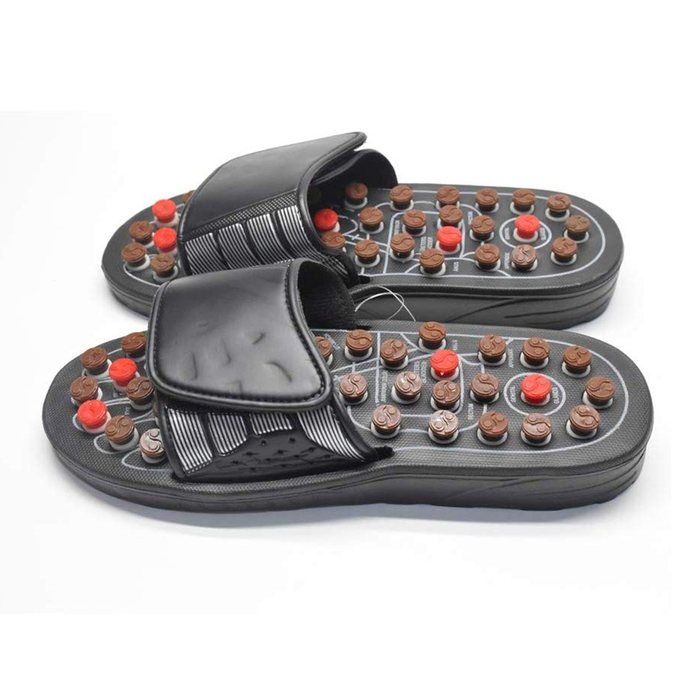 Acupoint Foot Massage Slippers Sandals Feet Acupressure Therapy Activating Reflexology Health Care For Men Women Black 3
