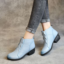 New Chic Shoes Ladies Designer Blue Genuine Leather Ankle Boots For Women Low Heels Cowhide Mom Shoes 2021 Women's Boots