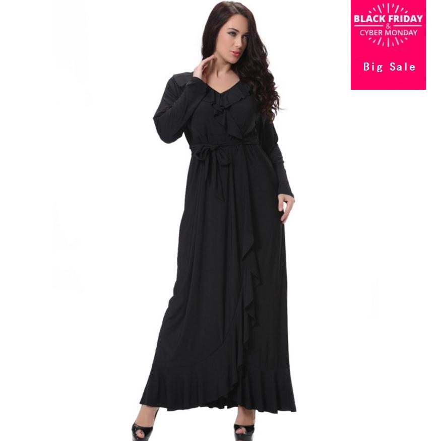 8XL Plus Size Adult Casual Ruffles Robe Musulmane Turkish Dubai Fashion Abaya Muslim Dress Lace Robes Worship Service Abaya 2537