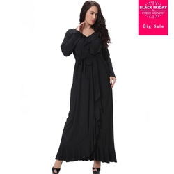 8XL plus size Volwassen Casual ruches Robe Musulmane Turkse Dubai Mode Abaya Moslim Jurk lace Robes Eredienst abaya 2537