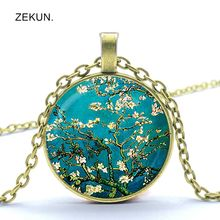 New Van Gogh Almond Branch Floral Pendant Van Gogh Necklace Retro Van Gogh Bump Glass Men and Women Necklace Jewelry цены онлайн