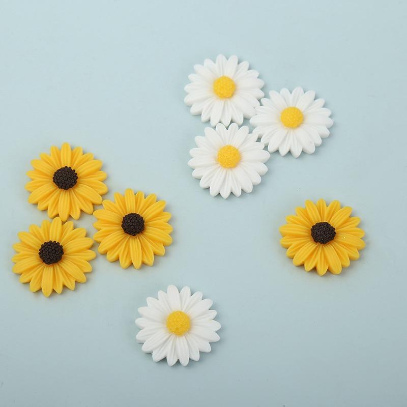20 штук 20 мм смолы Подсолнух, маргаритки Flatbacks ремесла украшения цветок кабошон DIY украшения для Скрапбукинг