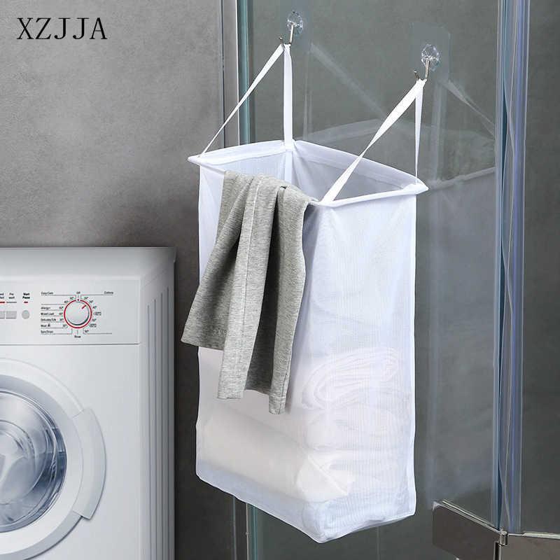XZJJA panier à linge mural en maille | Panier à linge, salle de bain, vêtements sales, panier de rangement Portable pliable Transparent pour vêtements