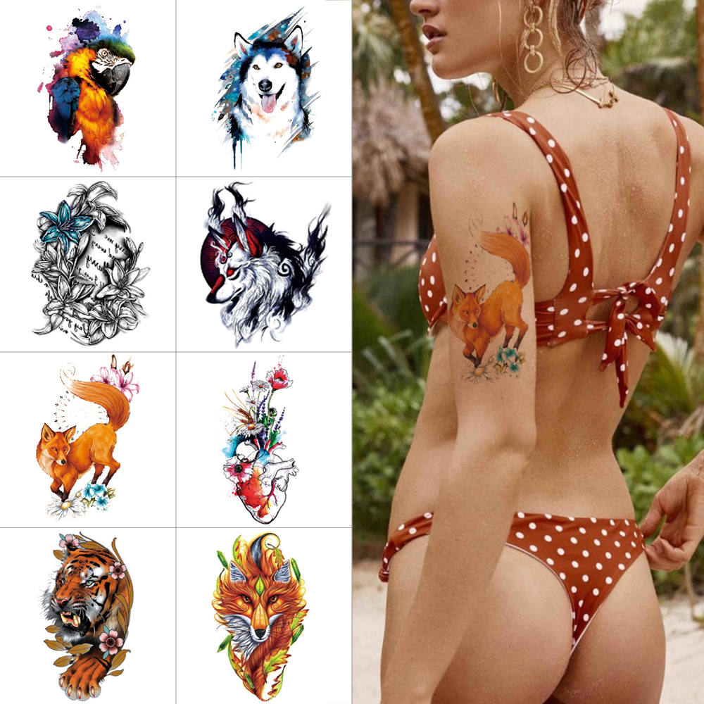 Watercolor Temporary Tattoo Stickers Wolf Tiger Fox Parrot Waterproof Fake Tattoos Flower Angel Wings Arm Body Sticker Tattoo
