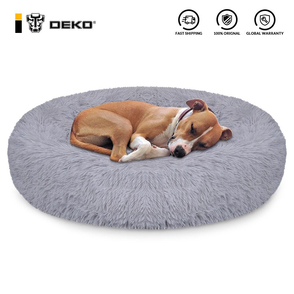 DEKO Pet Dog Bed Super Soft Kennel Round Fluffy Cat House Warm Comfortable Sleeping Cushion Mat Sofa Washable Puppy Plush 1