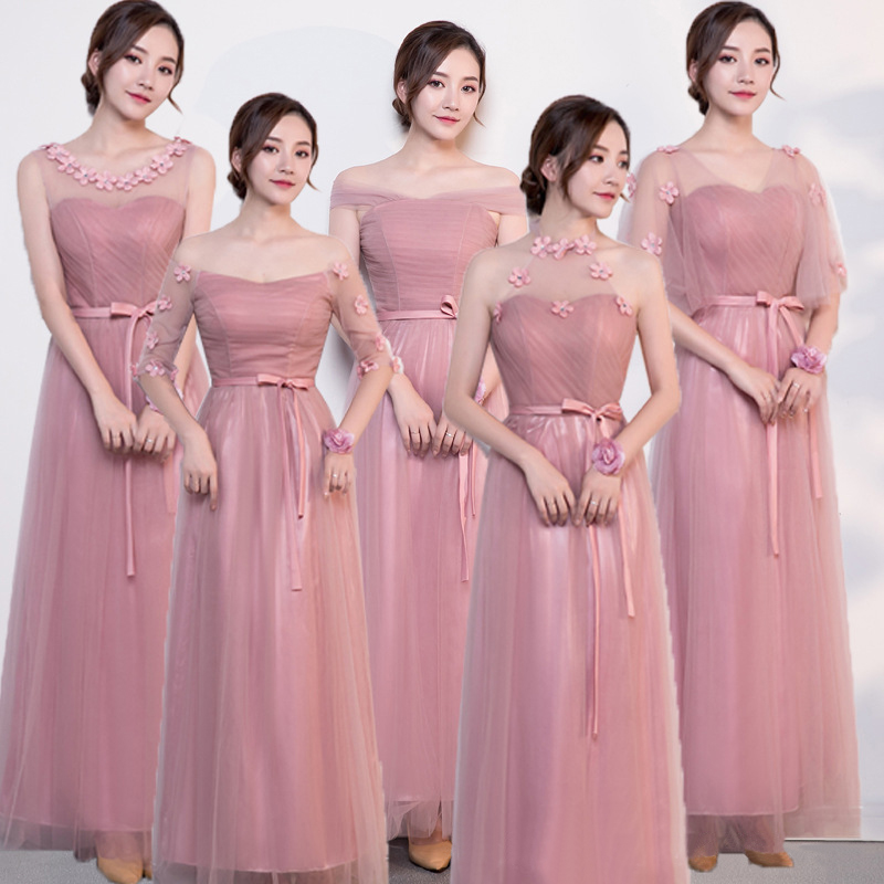 Elegant Dress Women For Wedding Party Pink Tulle Bridesmaid Dresses Long Backless Lace Up Plus Size Bridesmaid Dresses Gala Gown