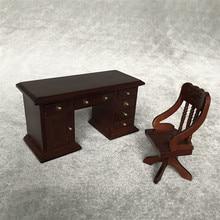 Simulación muebles juguete 2019 superior miniatura Vintage escritorio silla 1:12 Mini casa de muñecas Linda Mini muebles Vintage 6,19