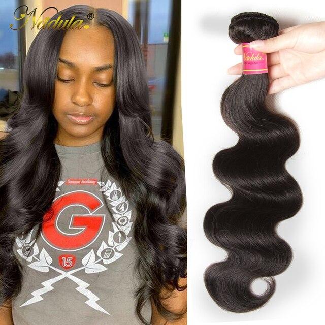 Nadula cabelo 1 pacote brasileiro onda do corpo cabelo tecelagem cor natural tecer cabelo brasileiro pacotes 100% remy extensões de cabelo humano