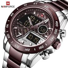 NAVIFORCE นาฬิกาผู้ชายแบรนด์หรูกีฬา Quartz LED Dual Display ชายนาฬิกาทหารกันน้ำนาฬิกาข้อมือเหล็กเต็มรูปแบบใหม่